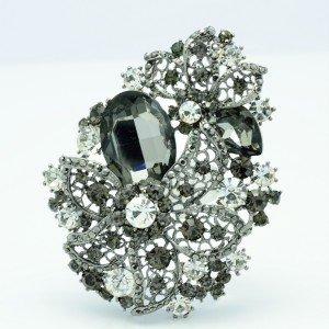 Charm Orchid Flower Teardrop Black Rhinestone Crystal  Brooch Pin Pendant 2274