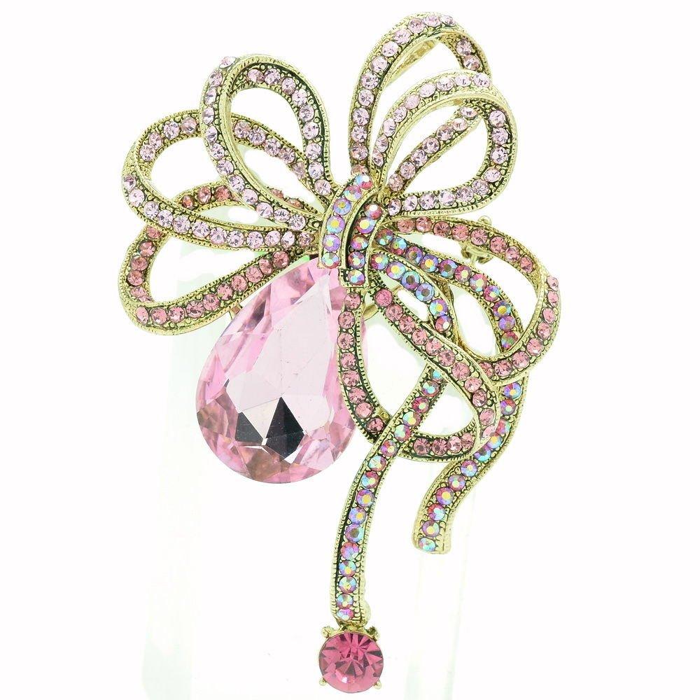 Vintage Pink Bowknot Brooch Hat Pins Rhinestone Crystals Prom Women Jewelry 6414