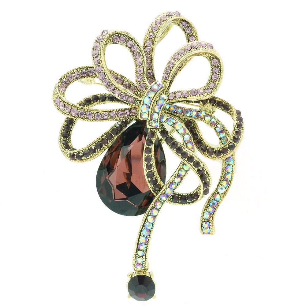 Vintage Purple Bowknot Brooch Hat Pin Rhinestone Crystal Women Prom Jewelry 6414