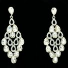 Women Bridal Flower Drop Pierced Dangle Earring Clear Rhinestone Crystal 123638