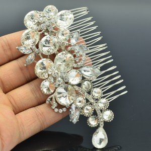 "Nice Bridal Bridesmaid Prom Flower Hair Comb Clear Rhinestone Crystals 4.1"" 4989"