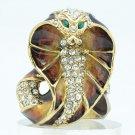 VTG Style Swarovski Crystal Brown Cobra Snake Cocktail Ring Jewelry Sz 8 SRA2172