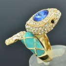New Swarovski Crystals Blue Enamel Animal Snake Cocktail Ring Size 8# SRA2173-1