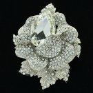 Wedding Rose Flower Pendant Brooch Broach Pin Clear Rhinestone Crystals 5840