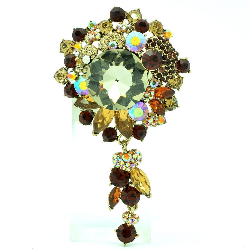 Showy Brown Circle Flower Brooch Pin Pendant Women Party Rhinestone Crystal 6446