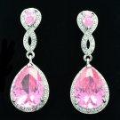 Charming Pink Zircon Rhinestone Crystals Dangle Drop Earring For Women 20621
