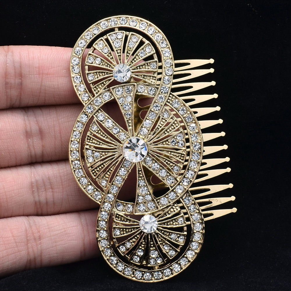 Vintage Style Wedding Bridal Flower Hair Comb Jewelry Rhinestone Crystals XBY067