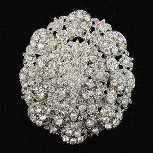 """Wedding Bridal Clear Rhinestone Crystals Roud Fower Brooch Pin 2.7"""" 3808"""