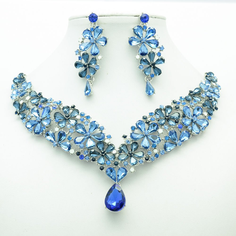Gorgeous Drop Flower Necklace Earrings Sets Sea Blue Rhinestone Crystals 6098