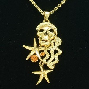 High Quality Swarovski Crystals Skull Star Necklace Pendant For Hallowee