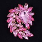 "New Pretty Flower Brooch Broach Pin 2.7"" Pink Rhinestone Crystals"