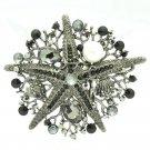 Beautiful Black Starfish Brooch Broach Pin Rhinestone Crystals 6412