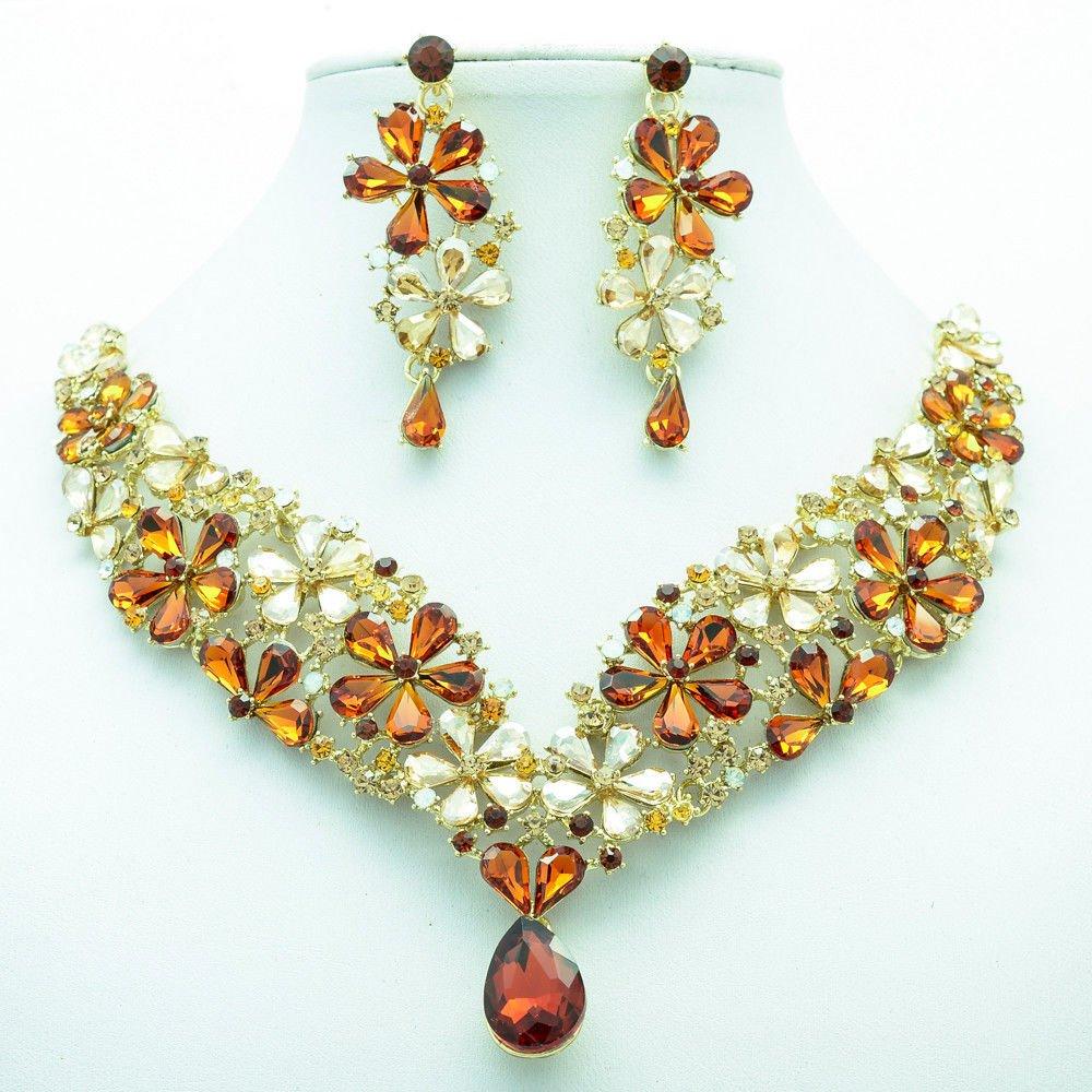 Gorgeous Drop Flower Necklace Earrings Jewelry Set Brown Rhinestone Crystal 6098