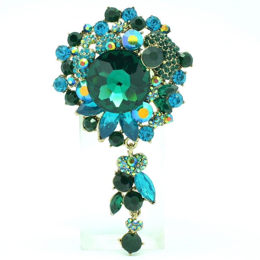 Green Circle Flower Brooch Broach Pins Rhinestone Crystals Pendant Jewelry 6446