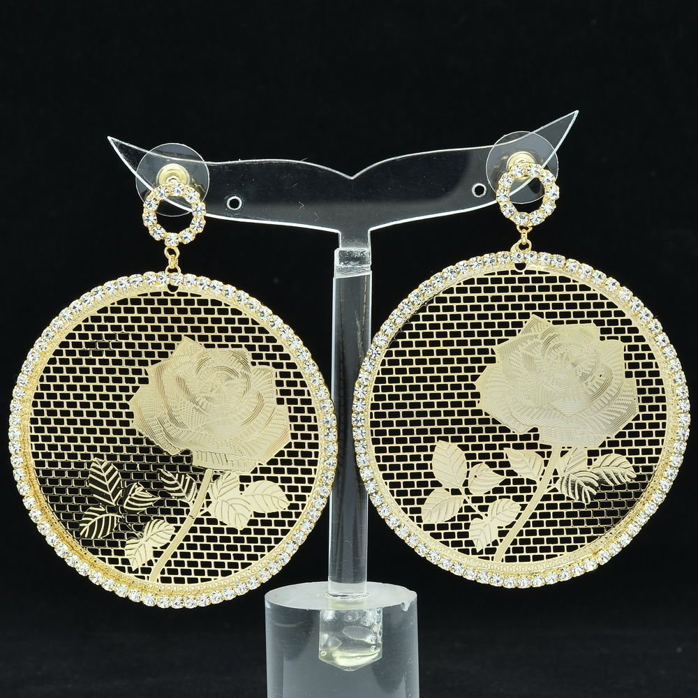 Rhinestone Crystal Gold Circle Flower Cutout Pierced Earring Women Jewelry 27674
