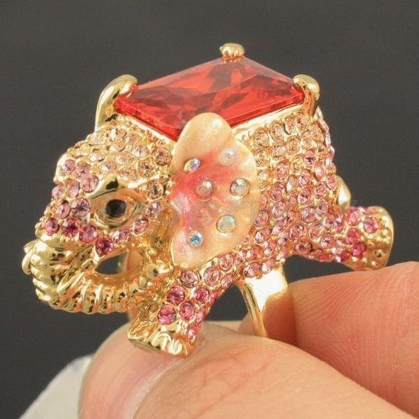 Zircon Swarovski Crystals Charming Animal Pink Elephant Cocktail Ring 6# SR1910
