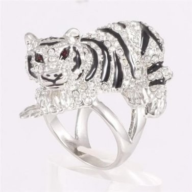H-Quality Sliver Tone Tiger Cocktail Ring 6# W/ Clear Swarovski Crystals SR1884