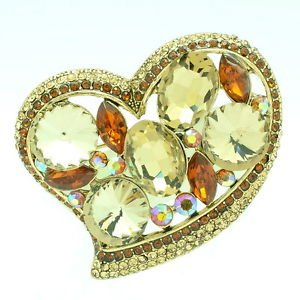 Cute Topaz Brown Heart Flower Brooch Pin Women's Jewelry Rhinestone Crystal 6449