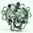 Black Cloud Flower Brooch Hat Pin Women's Spring Jewelry Rhinestone Crystal 6457