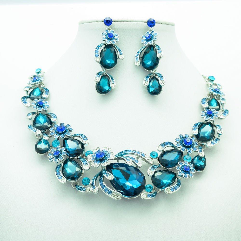 Chic Flower Necklace Earring Set Sea Blue Rhinestone Crystals Women Jewelry 5396