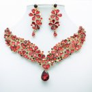 Gorgeous Drop Flower Necklace Earrings Jewelry Sets Red Rhinestone Crystals 6098