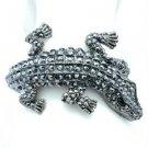 Crocodile Alligator Bracelet Bangle Cuff Black Rhinestone Crystal