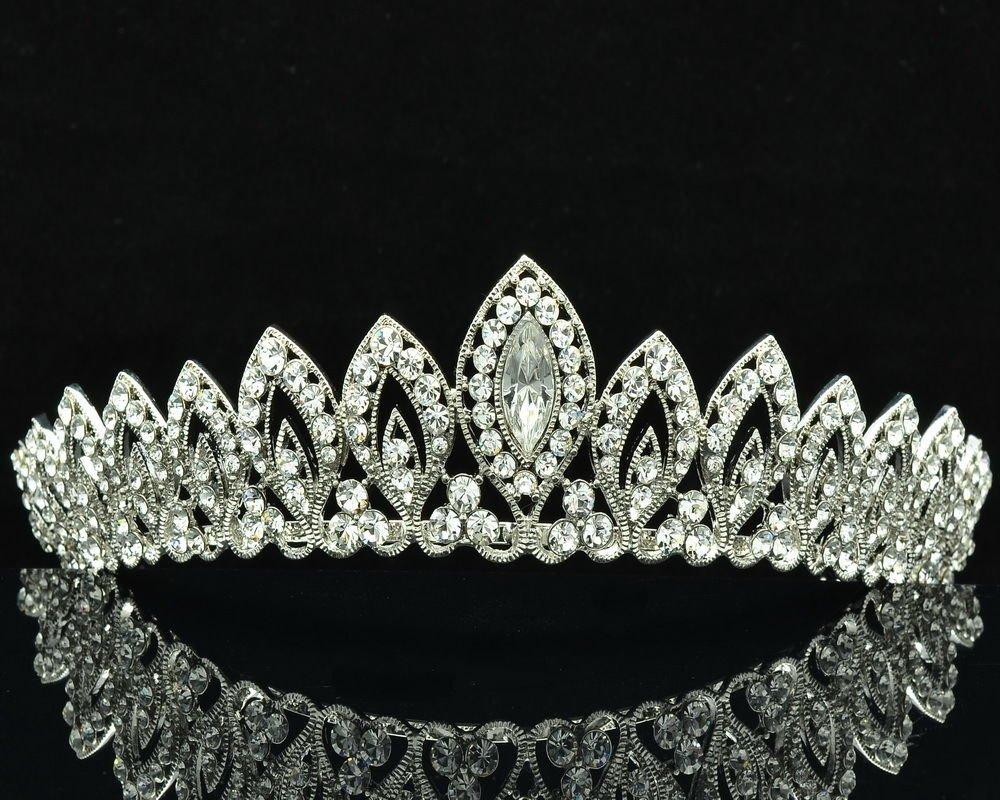 Tiptop Teardrop Tiara Crown Wedding Bridal Women Jewelry Swarovski Crystal 8574