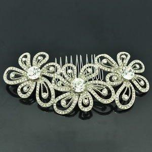 Smart Bridal Prom Jewelry Cute Clear Flower Hair Comb Rhinestone Crystal FA3239