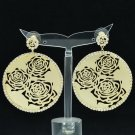 Rhinestone Crystal Gold Circle Flower Cutout Pierced Earring Women Jewelry 27699