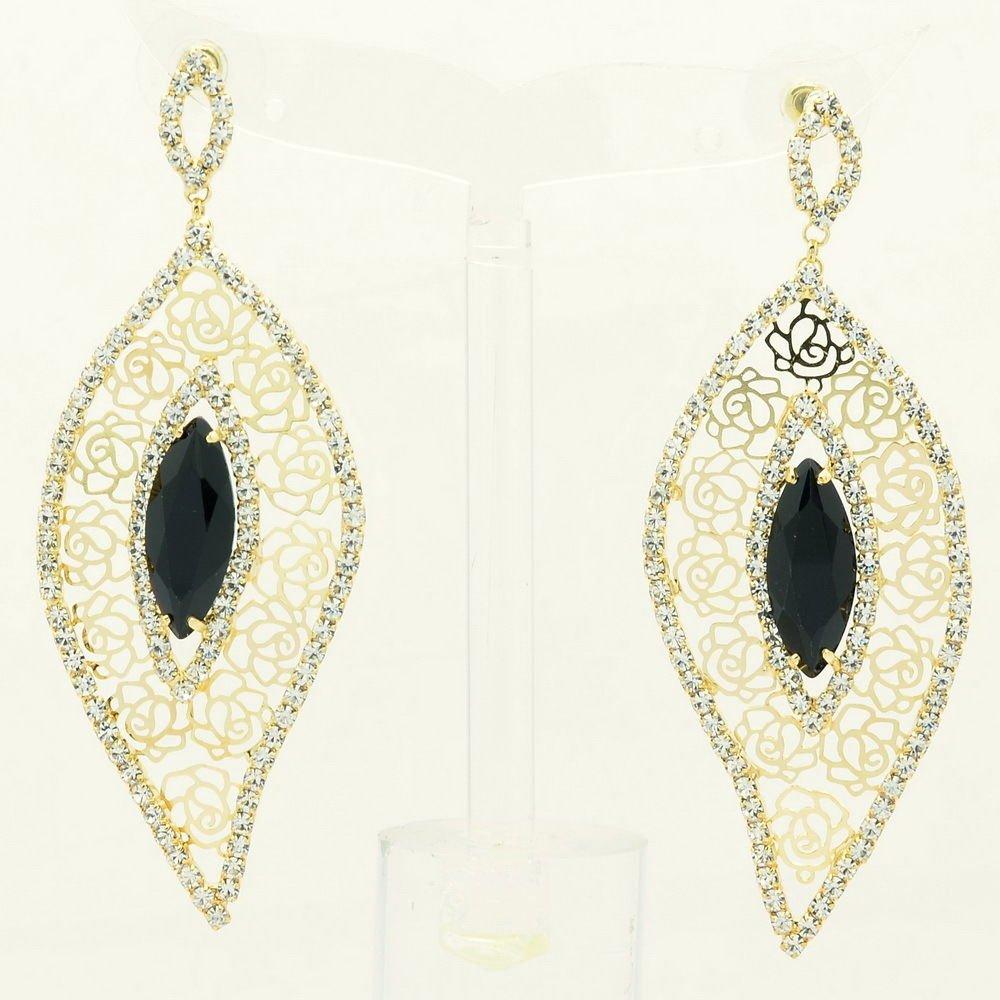 Cute Gold Leaf Rose Cutout Pierced Earring Black Zircon Rhinestone Crystal 27686