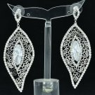 Clear Leaf Shape W/ Rose Cutout Pierced Earring Zircon Rhinestone Crystals 27686