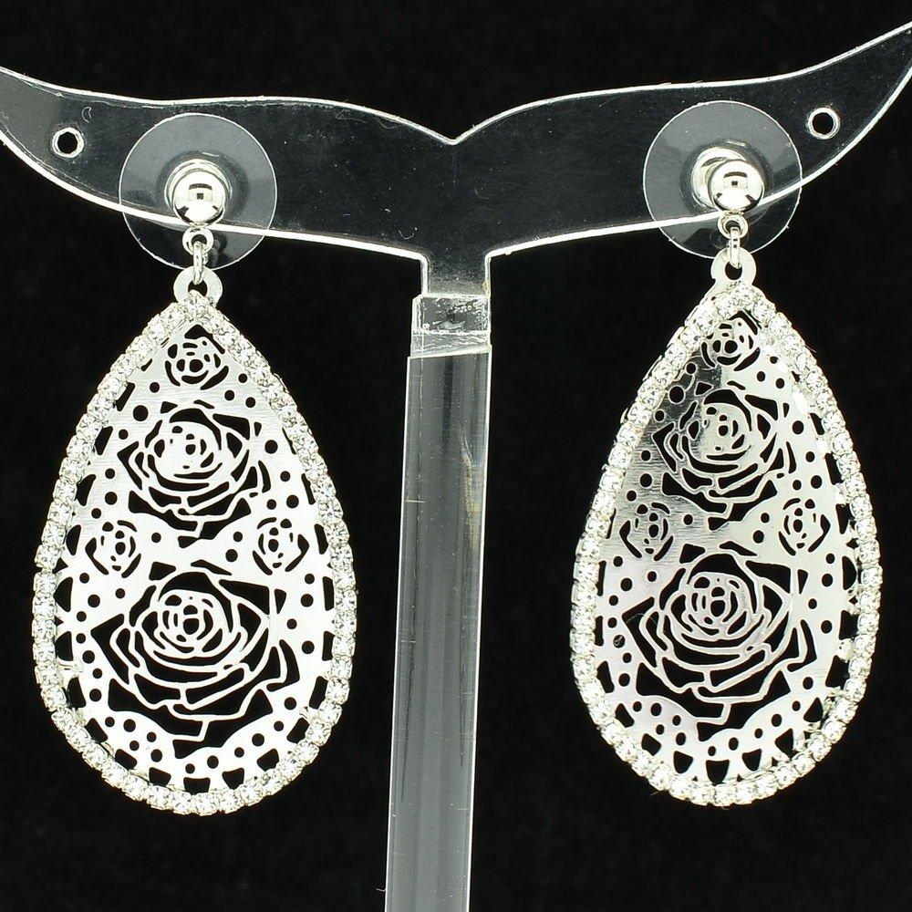 Rhinestone Crystals Clear Teardrop Flowers Cutout Pierced Earring Jewelry 27742