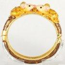 Noble Animal Brown Enamel 2 Mouse Bracelet Bangle Cuff W Swarovski Crystals