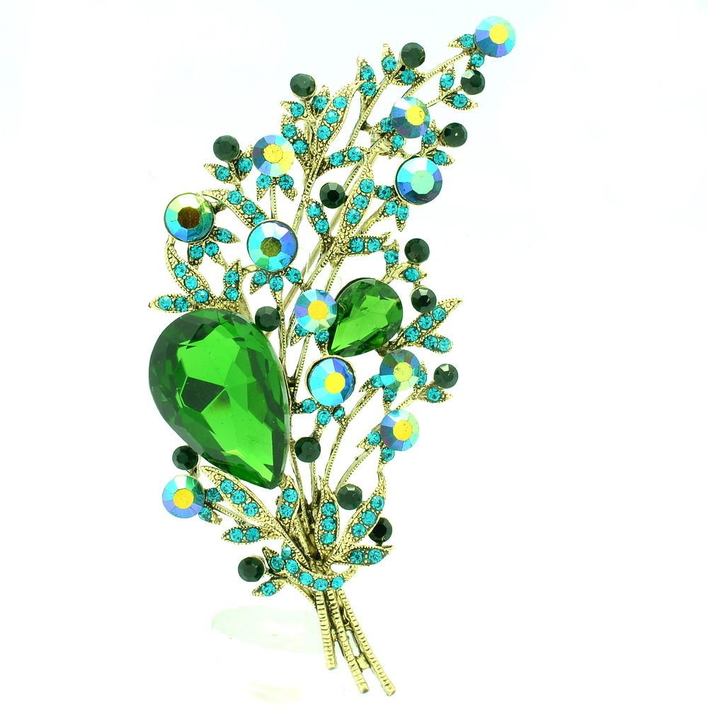 Gorgeous Rhinestone Crystal Jade Green Leaf Flower Brooch Pin Women Jewelry 6448