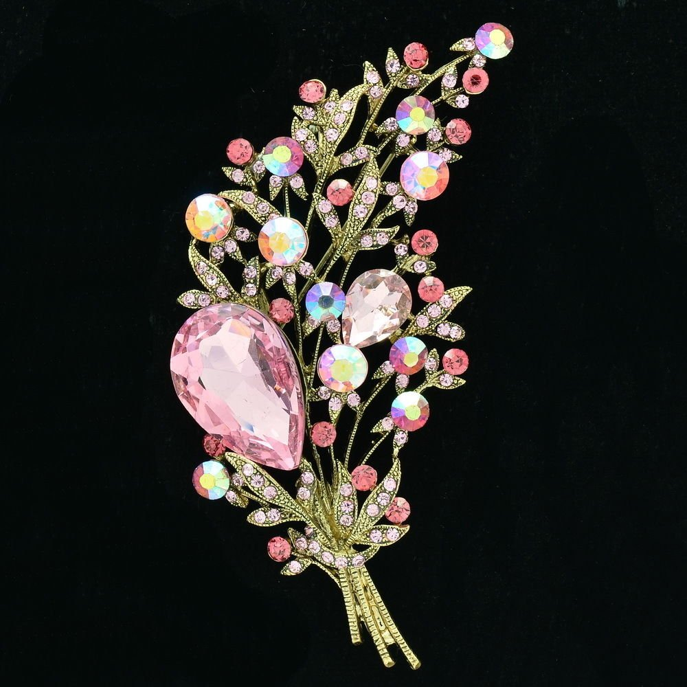 Cute Rhinestone Crystals Pink Leaf Flower Brooch Pin For Women Prom Jewelry 6448