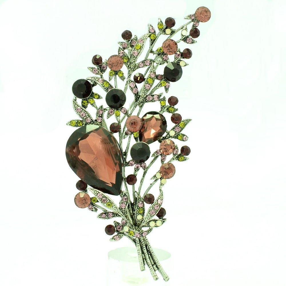 Elegant Purple Leaf Flower Brooch Hat Pin Prom Jewelry Rhinestone Crystals 6448