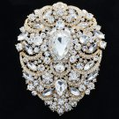 "Gold Tone Clear Rhinestone Crystal Big Drop Flower Brooch Pins Pendant 4.9"" 4045"