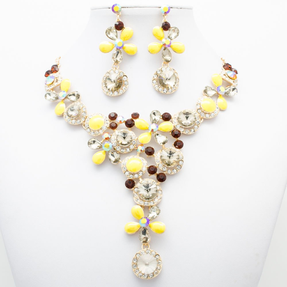 Graceful Yellow Flower Necklace Earring Set Women Party Rhinestone Crystal 02829