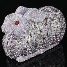 Swarovski Crystal Luxury Purple Bunny Rabbit Handbag Clutch Women Evening Purse