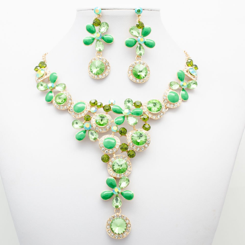 Summer Vivid Green Flower Necklace Earring Set for Women Rhinestone Crystal 2829