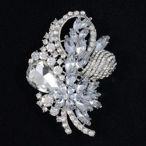 Vintage Wedding Drop Flower Brooch Pin Bouquet Jewelry Rhinestone Crystal 4622