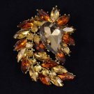 "Drop Flower Brooch Broach Pin 2.7"" Brown Rhinestone Crystals"
