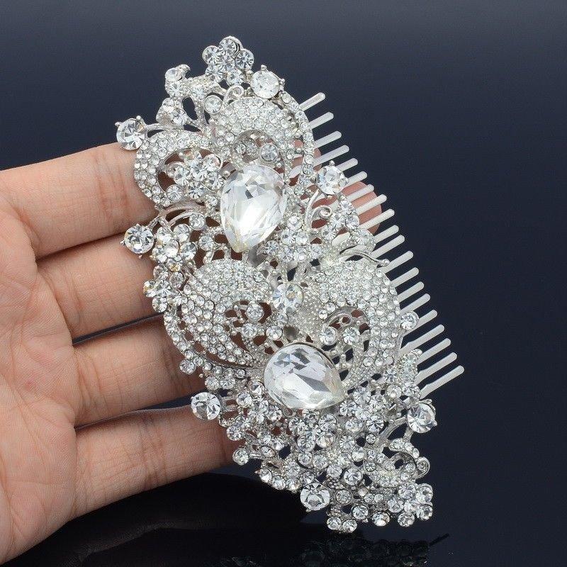 Bridal Wedding Clear Flower Hair Comb Accessories Drop Rhinestone Crystal FA2827