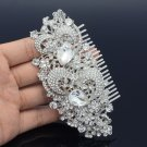 Bridal Wedding Clear Flower Hair Comb Accessories Drop Rhinestone Crystal FA2827