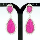 Chic Dual Drop Dangle Earring Rhinestone Crystal Fuchsia Acrylic 82318