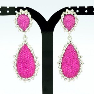 Chic Dual Drop Dangle Earring Rhinestone Crystal Fuchsia Acrylic 82318