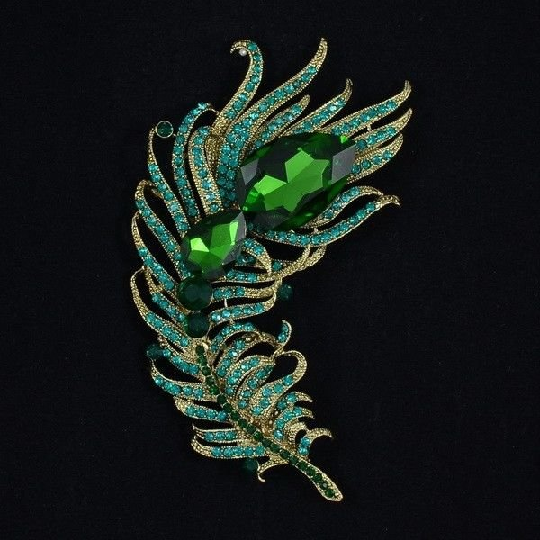 Smart Women Rhinestone Crystal Jade Green Peacock Feather Brooch Broach Pin 5038