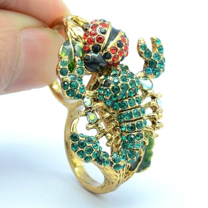 Swarovski Crystals Green Scorpion Cocktail Ring Size 8# W/ Red Ladybug
