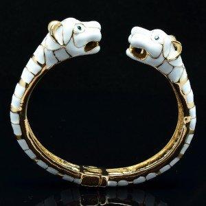 Double Tiger Bracelet Cuff Rhinestone Crystal White Enamel Gold Tone