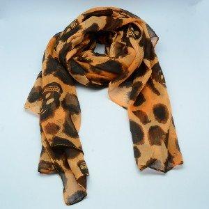 Fashion Orange Print Neck Circle Scarf Black Skull Shawl Wrap Lady Scarves